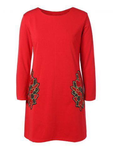 Sale Plus Size Embroidered Long Sleeve Dress - 3XL RED Mobile