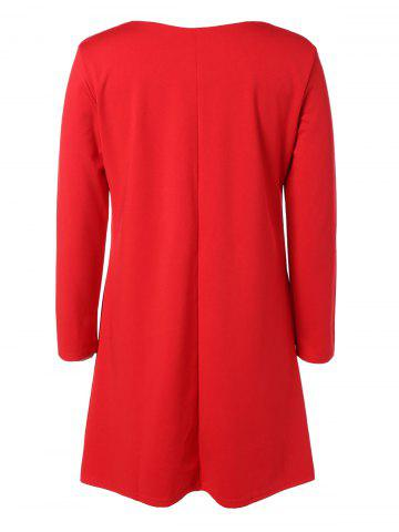 Latest Plus Size Embroidered Long Sleeve Dress - 2XL RED Mobile