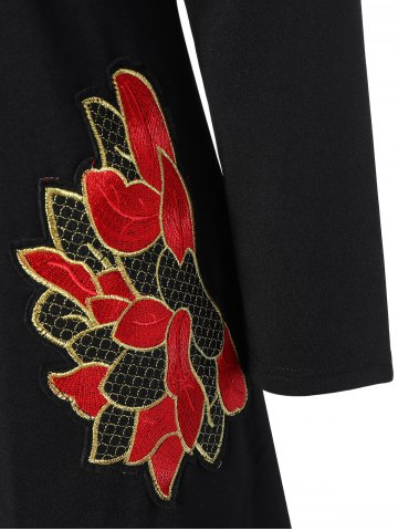 Latest Plus Size Embroidered Long Sleeve Dress - 3XL BLACK Mobile