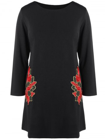 Cheap Plus Size Embroidered Long Sleeve Dress - 3XL BLACK Mobile