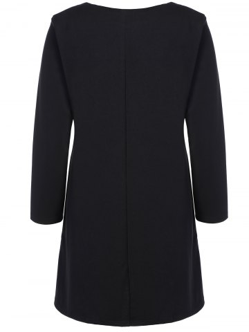 Outfit Plus Size Embroidered Long Sleeve Dress - 3XL BLACK Mobile