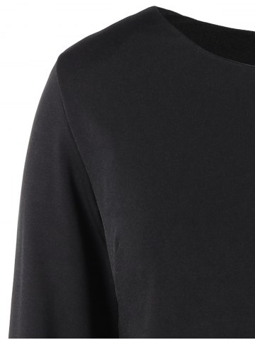Latest Plus Size Embroidered Long Sleeve Dress - 2XL BLACK Mobile