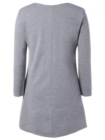 Trendy Plus Size Embroidered Long Sleeve Dress - L LIGHT GRAY Mobile