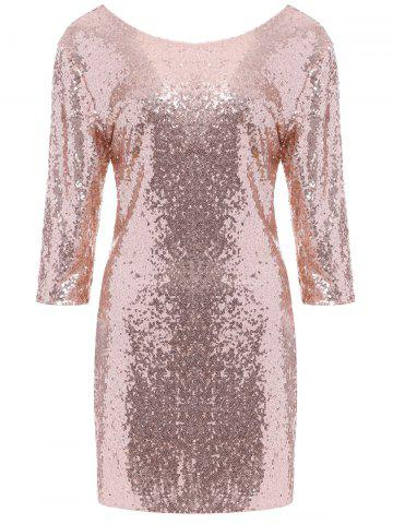 Discount Backless Slimming Sequine Glitter Bodycon Dress