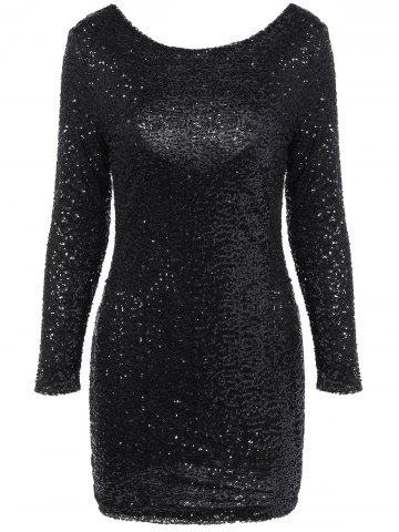 Chic Long Sleeve Sequined Backless Dress