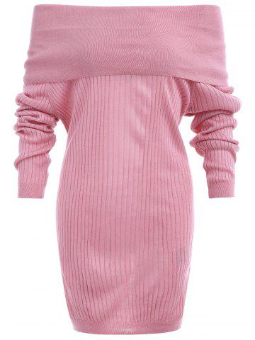 Unique Off The Shoulder Ribbed Sweater Dress