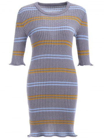 Store Striped Ribbed Bodycon Sweater Dress