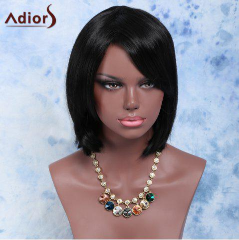 Unique Short Side Bang Straight Bob Synthetic Wig BLACK