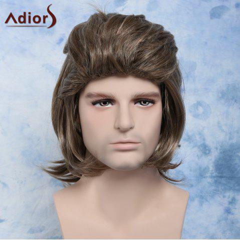 Fancy Men Fluffy Mullet Hairstyle Full Bang Mixed Color Cosplay Synthetic Wig COLORMIX