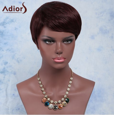 Online Palm Red Fashion Short Pixie Cut Straight Side Bang Synthetic Wig For Women RED BROWN