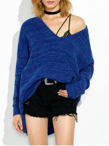 Outfits High Low V Neck Oversized Sweater ROYAL M