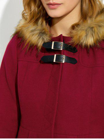 New Hooded Woollen Blend A Line Coat - XL RED Mobile
