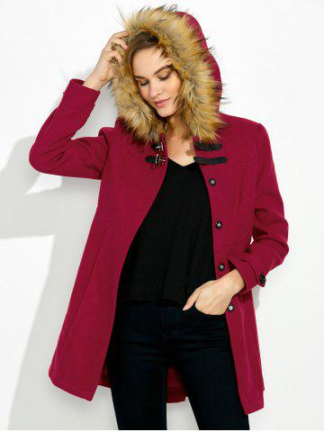 Shop Hooded Woollen Blend A Line Coat - M RED Mobile