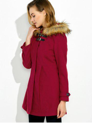 Hot Hooded Woollen Blend A Line Coat - M RED Mobile