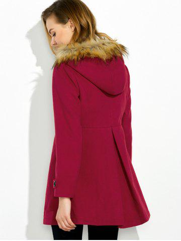 Fashion Hooded Woollen Blend A Line Coat - M RED Mobile