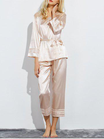 Buy Bowknot Lace Panel Nightwear Pajamas - Champagne M