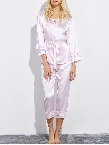 Trendy Lace Panel Satin Nightwear Capri Pajamas