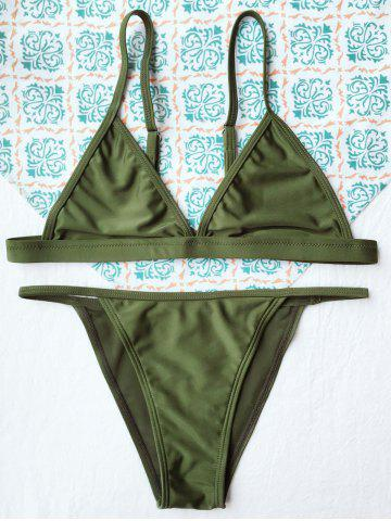 Cheap Simple Teeny String Bikini Swimwear - ARMY GREEN M Mobile