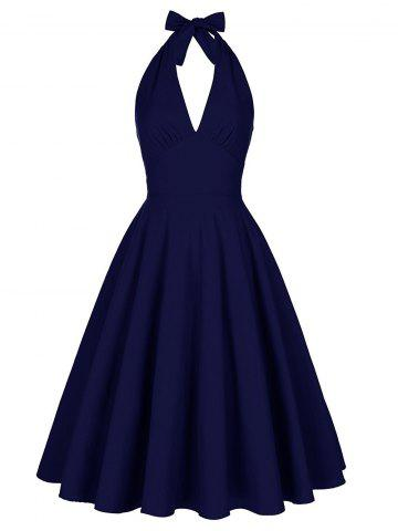 Trendy Halter Low Back Plunge Work Christmas Party Dress PURPLISH BLUE L