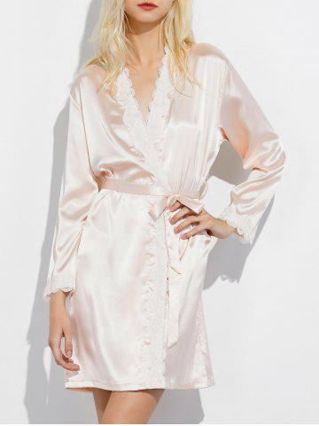 Outfits Lace Panel Long Wrap Sleep Robe