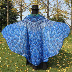 Feather Printed Chiffon Peacock Tail Cape