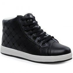 Flocking High Top Heart Embroidery Sneakers - BLACK