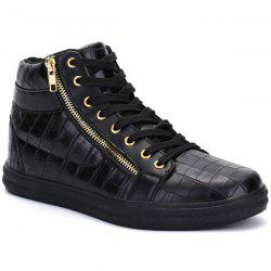 Embossed Side Zip High Top Casual Shoes