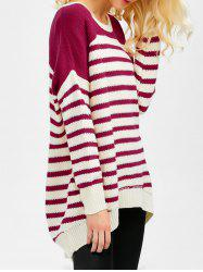 Striped High Low Oversized Sweater - WINE RED 2XL
