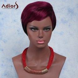 Stylish Red Mixed Black Short Fluffy Capless Straight Full Bang Synthetic Wig For Women