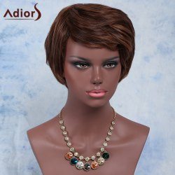 Outstanding Brown Mixed Short Fluffy Straight Side Bang Synthetic Wig