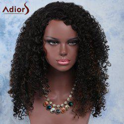 Fashion Long Synthetic Fluffy Dark Brown Mixed Curly Adiors Wig For Women - COLORMIX