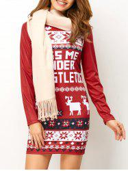 Christmas Printed Mini Long Sleeve Dress