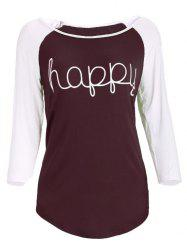 Raglan Sleeve Happy Printed Baseball T-Shirt