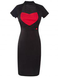Two Tone Pencil Dress - RED WITH BLACK