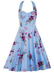 Halter Floral Going Out Swing Dress - CLOUDY 2XL