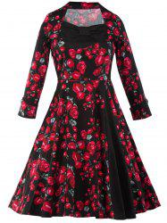 Rose Print Button Cuff Tea Length Vintage Dress