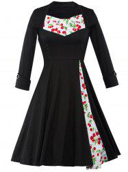 Cherry Print Tea Length Vintage Swing Dress - BLACK 2XL