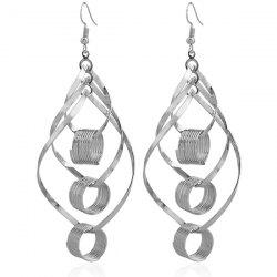 Hollow Out Leaf Circle Earrings -