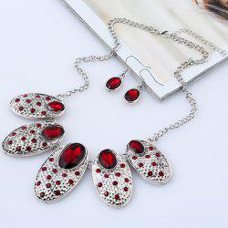 Artificial Gem Oval Necklace and Earrings -