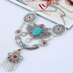 Artificial Gem Beads Flower Coins Necklace