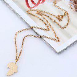 Africa Map Pendant Sweater Chain -