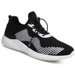 Elastic Band PU Insert Athletic Shoes - WHITE AND BLACK