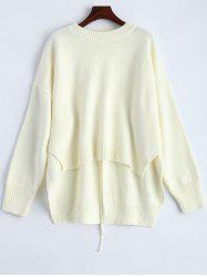 High Low Lace Up Pullover Sweater -