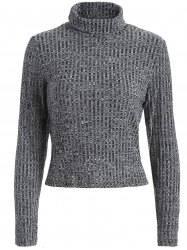 Turtleneck Cropped Heathered Sweater -
