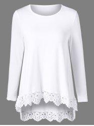 High Low Lace Trim Tee -