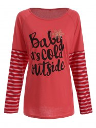 Christmas Striped Letter Print Tee - RED XL