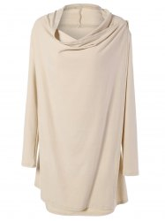 Cowl Neck Overlap Loose Cream Long Sleeve Tee - APRICOT XL