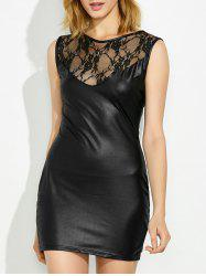 Lace Sheer Faux Leather Mini Ruched Club Dress