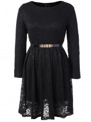 Fit and Flare Lace Long Sleeve Dress
