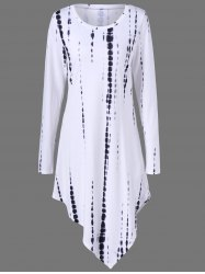 Tie Dye Asymmetrical T-Shirt Dress with Long Sleeve - WHITE